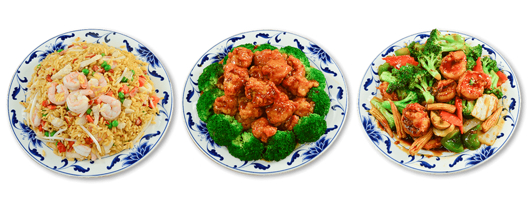 Banner of three of 88 China's entrees: the House Fried Rice, the General Tso's Chicken, and the Kung Pao Shrimp.